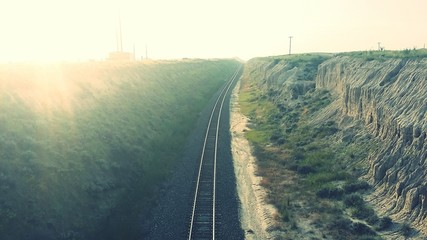 Foto op Textielframe Spoorlijn High Angle View Of Railroad Track Amidst Rock Formation