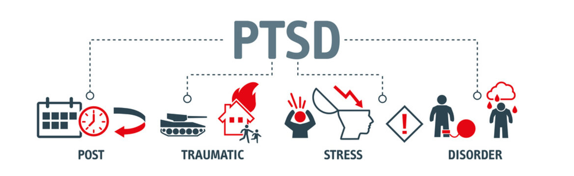 Posttraumatic stress disorder vector illustration concept