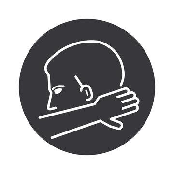 Hygiene Coronavirus icon - In die Armbeuge niesen oder husten