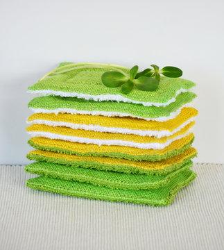 Reusable zero waste washable biodegradable kitchen dish sponges, close-up view