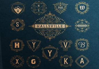 Set of 16 Ornamental Monograms and Logos