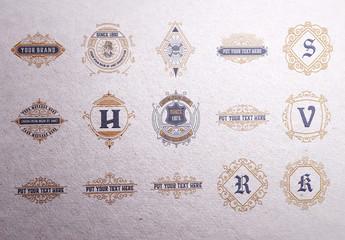 Set of 15 Ornamental Monograms and Logos