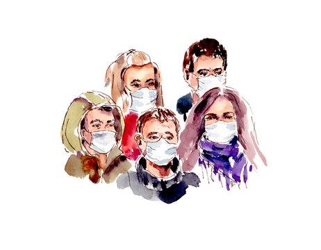 watercolor illustration, world quarantine - COVID 19 coronavirus infection