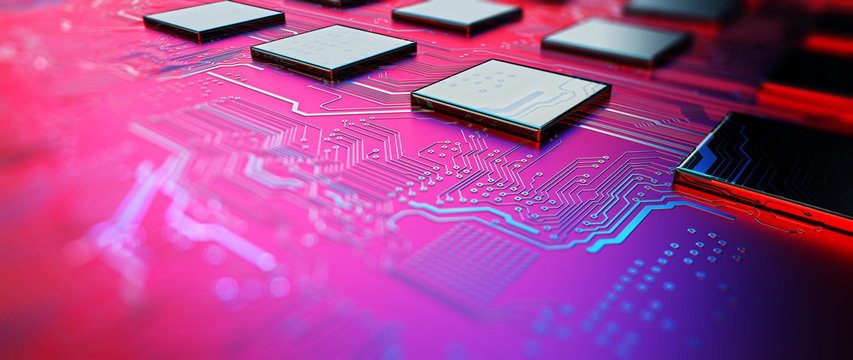 Printed circuit board futuristic server/Circuit board futuristic server code processing. Red, blue technology background with bokeh. 3d rendering