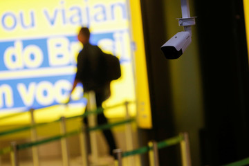 A thermal camera used to detect high body temperatures among departing passengers is seen at the President Juscelino Kubitschek International Airport, amid the spread of the coronavirus disease (COVID-19), in Brasilia
