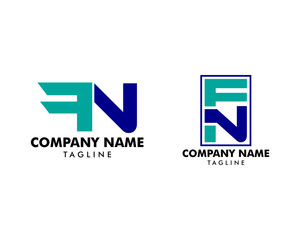 Set of Initial Letter FN Design Logo