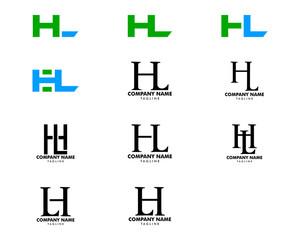 Set Of Initial Letter HL Design Logo