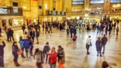 Fototapeta Crowd At Illuminated Grand Central Station obraz