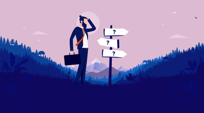 Business decision - Modern businessman standing in front of signpost showing different directions. Career uncertainty, choices, and unknown future concept. Vector illustration.