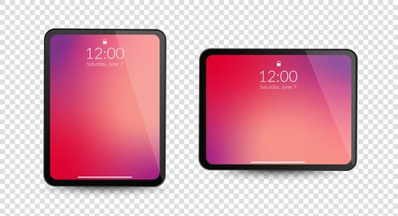 Tablet computer gadgets. Horizontal and vertical screen display. Realistic black digital device mockup. Equipment vector concept on transparent background