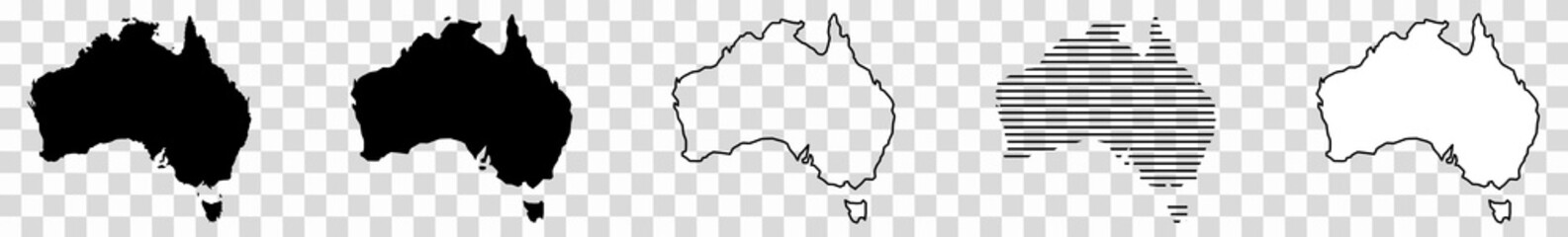 Fototapeta Australia Map Black | Australian Border | Continent | Transparent Isolated | Variations obraz