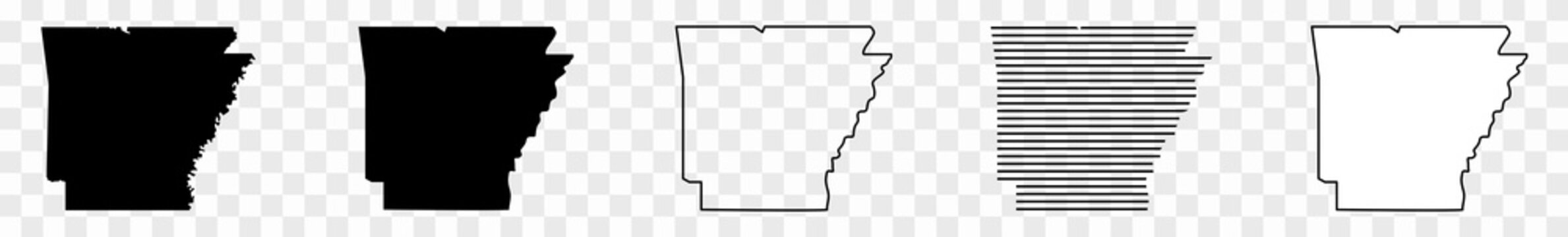 Arkansas Map Black | State Border | United States | US America | Transparent Isolated | Variations