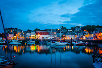 Padstow harbour in the night, Cornwall, UK