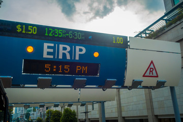 SINGAPORE, SINGAPORE - FEBRUARY 01, 2018: Close up of ERP system on street at downtown Orchard in Singapore