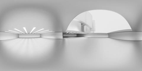 Full 360 degree equirectangular panorama hdri of modern futuristic white technology building interior 3d render illustration Fototapete