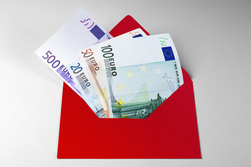Financial aid, 20, 50, 100, and 500 Euro Bills in envelope