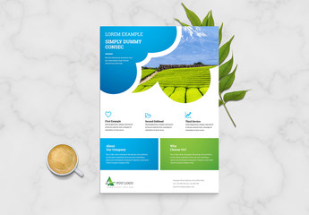 Corporate Business Flyer Layout with Blue and Green Accents