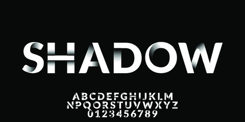 Clean Shadow Font Type Vector Fotobehang