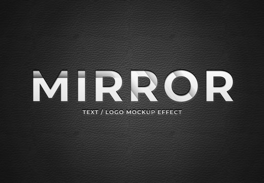 Mirror on Leather Text Effect Mockup