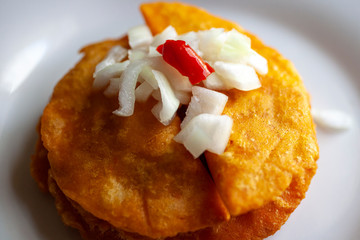 Panades with onions and habanero pepper, Belizean lunch