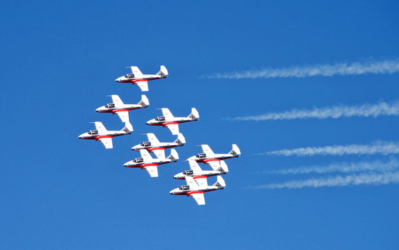 San Francisco, CA - October 06, 2017: Canada SNOW BIRDS performing in the 37th annual Fleet Week Air Show. Fleet Week celebrates the naval tradition, honoring people serving in armed forces.
