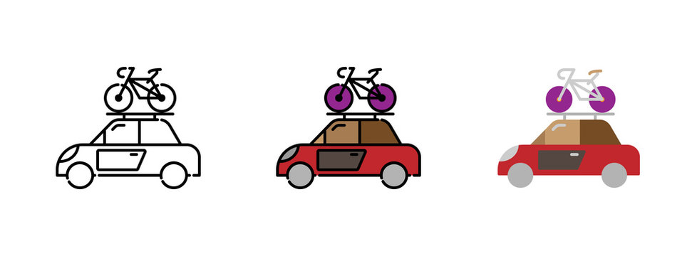 Car and roof rack with bike icon set isolated on white background for web design