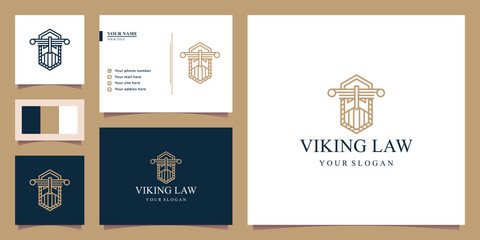 illustration of the justice logo, the viking logo, luxury and elegance. tiger logo. Design logos, icons and business cards. Premium vector.