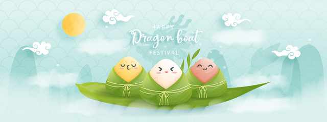 Chinese Dragon boat festival with rice dumplings, vector illustration.