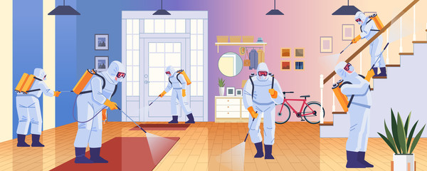 Home disinfection by cleaning service. Prevention controlling epidemic of coronavirus covid-2019. Worker in chemical protection disinfects the house. Cartoon style vector illustration design Wall mural