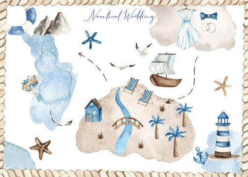 Watercolor nautical wedding card with islands, wedding dress, bouquet, ship