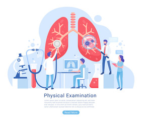 Physical and Respiratory system examination and treatment vector illustration.