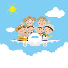 ポップな3世代家族 飛行機に乗って 旅行 麦わら帽子