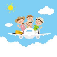ポップな家族 飛行機に乗って 旅行 麦わら帽子