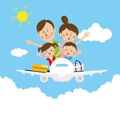 ポップな家族 飛行機に乗って 旅行