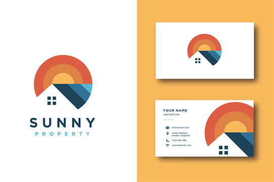 Modern colorful property logo and business card template