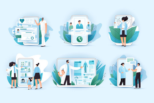 Online medicine vector flat concept. Doctors and nurses helping with medical treatment, picking right pills in online pharmasy, medic consulting on a phone and tablet