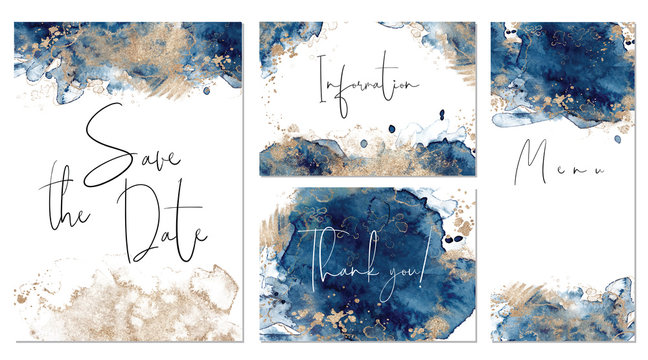 Classic blue and gold wedding set with hand drawn watercolor background. Includes Invintation, menu, information and thank you cards templates