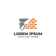 Plastering Cement Brick Wall with Pock Logo Vector Icon Illustration