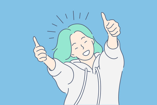 Like sign, joy, approval, happiness concept. Young happy smiling woman or girl teenager cartoon character showing thumbs up. Success and goal achievement facial expression flat vector illustration.