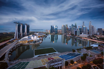 Fototapete - .Cityscape of Singapore city sunrise and building in morning time