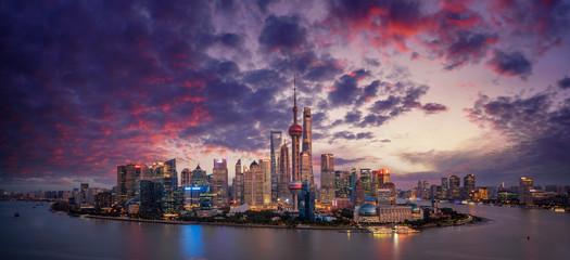 Fototapete - China financial district skyline on the Huangpu River