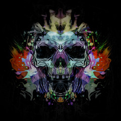 Angry skull with colorful abstract splatters on white background
