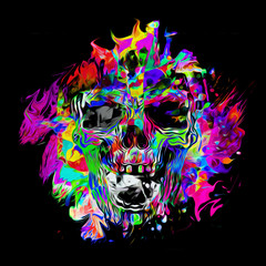 Angry skull with colorful abstract splatters on background
