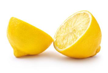 Wall Mural - fresh cut lemon fruit isolated on white background