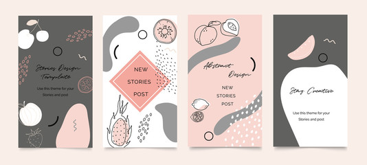Foto auf Leinwand Texturen Social media banner template. Editable mockup for stories, post, blog, sale and promotion. Abstract earth tone coloured shapes, line arts background design for personal, fashion and beauty blogger.