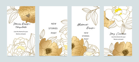 Fotobehang - Social media banner template. Editable mockup for stories, post, blog, sale and  promotion. Golden rose  line arts background design for personal, fashion and beauty blogger.