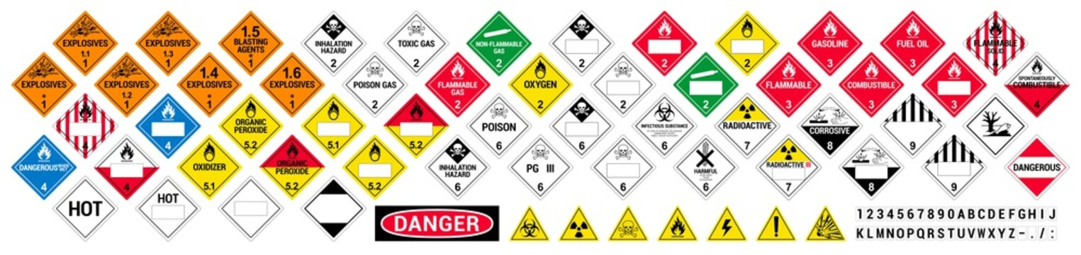 Vector hazardous material signs. Globally Harmonized System warning signs. All classes. Hazmat isolated placards. GHS
