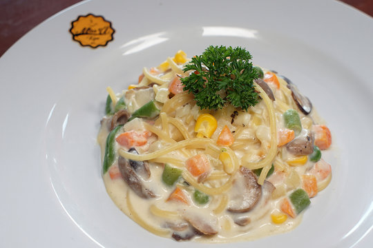 Fettucini pasta with vegetables smothered in cheese sauce