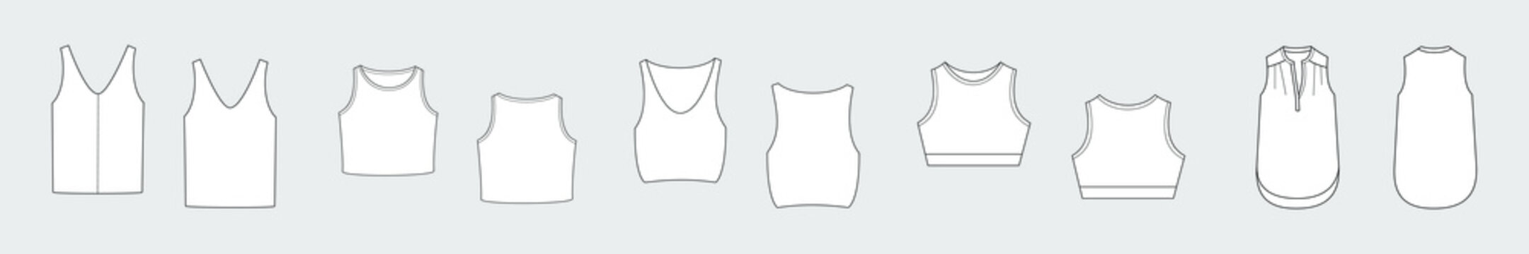 Female tank top vector template set isolated on a grey background. Front and back view. Outline fashion technical sketch of clothes model.