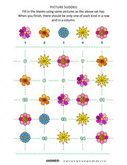 Picture sudoku puzzle 5x5 (one block) with flowers. Answer included.